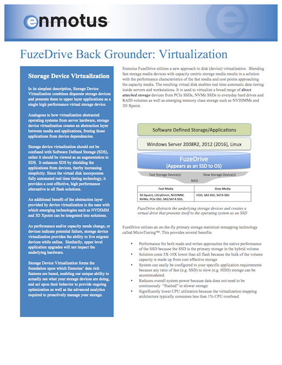 FuzeDrive and Storage Virtualization