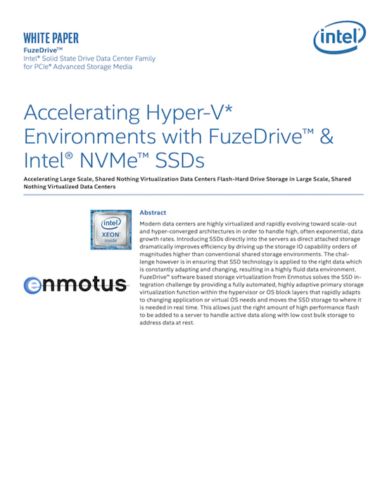Accelerating HyperV with Intel NVMe